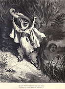 "His cries the whole neighbourhood round might awaken – 'The Marquis of Carabas' clothes have been taken!'"" Illustration from 'Puss in Boots' by Paul Gustave Doré (1832-1883). From the book Fairy realm. A collection of the favourite old tales. Illustrated by the pencil of Gustave Dore by Tom Hood, (1835-1874); Gustave Doré, (1832-1883) Published in London by Ward, Lock and Tyler in 1866"
