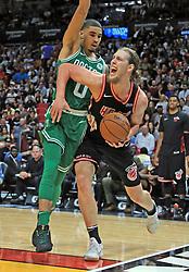 November 22, 2017 - Miami, FL, USA - The Miami Heat's Kelly Olynyk battles along the baseline with the Boston Celtics' Jayson Tatum (0) in the second half at the AmericanAirlines Arena in Miami on Wednesday, Nov. 22, 2017. The Heat won, 104-98. (Credit Image: © Al Diaz/TNS via ZUMA Wire)