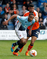 Blackpool's Neil Danns gets away from Luton Town's Isaac Vassell<br /> <br /> Photographer David Shipman/CameraSport<br /> <br /> The EFL Sky Bet League Two - Luton Town v Blackpool - Saturday 1st April 2017 - Kenilworth Road - Luton<br /> <br /> World Copyright © 2017 CameraSport. All rights reserved. 43 Linden Ave. Countesthorpe. Leicester. England. LE8 5PG - Tel: +44 (0) 116 277 4147 - admin@camerasport.com - www.camerasport.com