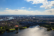 Nederland, Zuid-Holland, Rotterdam, 15-07-2012; Kralingse plas, zicht op de wijk Kralingen, linksboven Rotterdam-Zuid en het Noordereiland in de Nieuwe Maas. .Overvew on Rotterdam, residential district Kralingen and river Nieuwe Maas (Meuse) on the left..luchtfoto (toeslag), aerial photo (additional fee required).foto/photo Siebe Swart