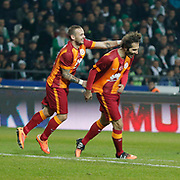 Galatasaray's Hamit Altintop (R) celebrate his goal with team mate during their Turkish Super League soccer derby match Torku Konyaspor between Galatasaray at the Konya Buyuksehir Belediyesi Torku Arena at Selcuklu in Konya Turkey on Saturday, 13 December 2014. Photo by Kurtulus YILMAZ/TURKPIX