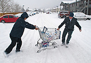 NEWS&GUIDE PHOTO/PRICE CHAMBERS<br /> Ken Alcarmen, right, and a man identified only as Betok work together to bring home the groceries on Saturday as fresh snow clogs up the wheels of their cart. The two men from the Phillipines say it is their first time ever seeing this much snow.