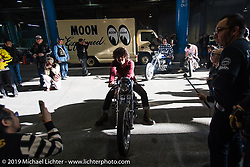 Cherry's Company's Kaichiroh Kurosu stages for the grand entry into the Annual Mooneyes Yokohama Hot Rod and Custom Show. Japan. Sunday, December 7, 2014. Photograph ©2014 Michael Lichter.