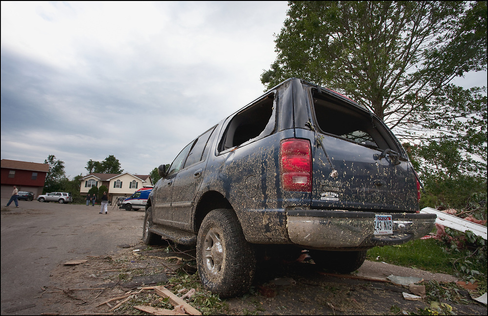 A damaged car with its windows blown out from an EF-3 tornado in Sedalia, MO.