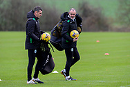 Hibernian FC assistant head coach, John Potter (right) speaks with Hibernian FC manager, Jack Ross during the Hibernian pre-match press conference and training session at Hibernian Training Centre, Ormiston, Scotland on 27 November 2020, ahead of their Betfred Cup match against Dundee.