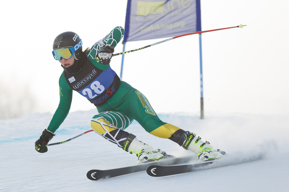 Celine Rytz of the University of Vermont, skis during the first run of the women's giant slalom at the Colby College Carnival at Sugarloaf Mountain on January 17, 2014 in Carabassett Valley, ME. (Dustin Satloff/EISA)