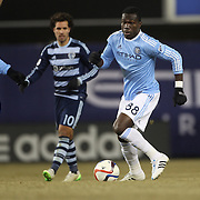 Kwadwo Poku, NYCFC, in action during the New York City FC Vs Sporting Kansas City, MSL regular season football match at Yankee Stadium, The Bronx, New York,  USA. 27th March 2015. Photo Tim Clayton