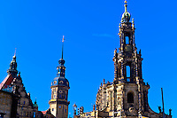 Hausmann Tower and Hofkirche (Dresden Cathedral), Dresden, Saxony, Germany