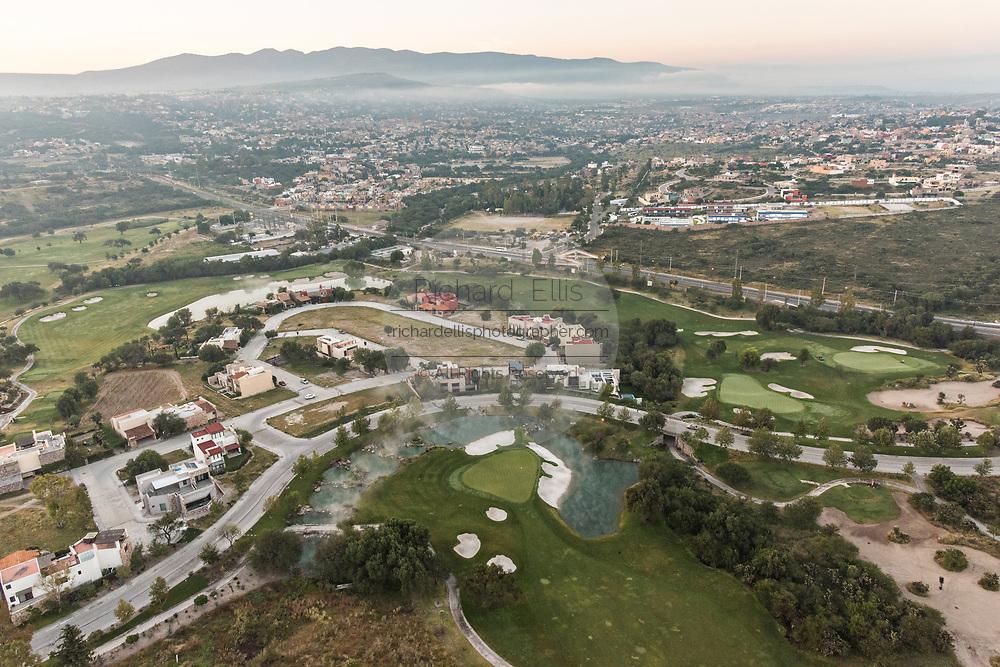 Ventanas golf course outside San Miguel de Allende, Mexico at dawn with the Bajio Mountains behind.