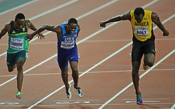 USA's Justin Gatlin wins the Men's 100m Final ahead of Christian Coleman and Jamaica's Usain Bolt in third during day two of the 2017 IAAF World Championships at the London Stadium, UK, Saturday August 5, 2017. Photo by Giuliano Bevilacqua/ABACAPRESS.COM