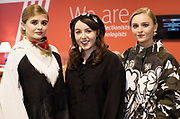 21/02/2018 REPRO FREE  The 2018 Irish Fashion Innovation Awards was launched at Monaghans & Sons Ltd showrooms.<br /> <br /> The 2018 Irish Fashion Innovation Awards take place on March 22nd at The Galmont Hotel & Spa, Galway<br /> At the stylish launch was attended by Karen and Ruth from Catwalk models  with Designer Amie Egan, (centre) from Tullamore.<br />  Photo:Andrew Downes, XPOSURE