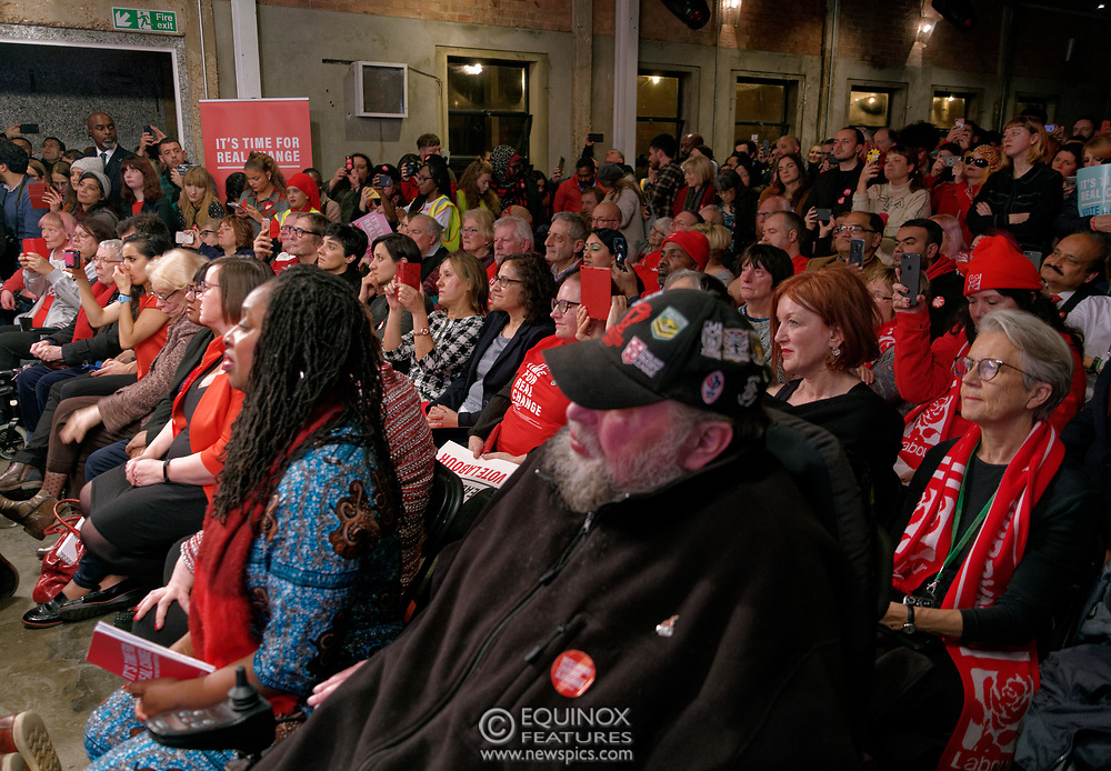 London, United Kingdom - 11 December 2019<br /> Labour Party leader Jeremy Corbyn speaking at their final campaign rally before the General Election 2019 at Hoxton Docks, London, England, UK.<br /> (photo by: EQUINOXFEATURES.COM)<br /> Picture Data:<br /> Photographer: Equinox Features<br /> Copyright: ©2019 Equinox Licensing Ltd. +443700 780000<br /> Contact: Equinox Features<br /> Date Taken: 20191211<br /> Time Taken: 21535827<br /> www.newspics.com