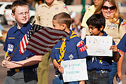 16 JANUARY 2012 - MESA, AZ:  Cub scouts in the parade on Martin Luther King Day in Mesa, AZ, Monday, Jan. 16. Hundreds of people participated in the parade which marched through downtown Mesa.   PHOTO BY JACK KURTZ