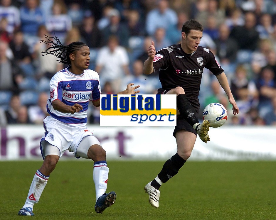 Photo: Olly Greenwood.<br />Queens Park Rangers v West Bromwich Albion. Coca Cola Championship. 31/03/2007. West Brom's Jason Koumas and QPR's Michael Mancienne
