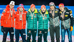 24.02.2019, Medal Plaza, Seefeld, AUT, FIS Weltmeisterschaften Ski Nordisch, Seefeld 2019, Nordischen Kombination, Teambewerb, Siegerehrung, im Bild v.l. Silbermedaillengewinner Jan Schmid, Jarl Magnus Riiber (NOR), Weltmeister und Goldmedaillengewinner Eric Frenzel, Fabian Riessle (GER), Bronzemedaillengewinner Franz-Josef Rehrl, Bernhard Gruber (AUT) // f.l. Silver medalist Jan Schmid Jarl Magnus Riiber of Norway World champion and Gold medalist Eric Frenzel Fabian Riessle of Germany and Bronce medalist Franz-Josef Rehrl Bernhard Gruber of Austria during the winner ceremony for the team competition Nordic Combined of FIS Nordic Ski World Championships 2019 at the Medal Plaza in Seefeld, Austria on 2019/02/24. EXPA Pictures © 2019, PhotoCredit: EXPA/ Stefan Adelsberger