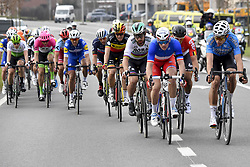 March 25, 2018 - Wevelgem, BELGIUM - Belgian Philippe Gilbert of Quick-Step Floors, Belgian Oliver Naesen of AG2R La Mondiale, Slovakian Peter Sagan of Bora-Hansgrohe, French Arnaud Demare of FDJ, Belgian Jens Debusschere of Lotto Soudal and Belgian Wout van Aert of Team Sniper pictured in action during the 80th edition of the Gent-Wevelgem cycling race, 251,1 km from Deinze, near Gent, to Wevelgem, Sunday 25 March 2018. BELGA PHOTO DIRK WAEM (Credit Image: © Dirk Waem/Belga via ZUMA Press)