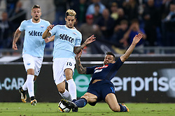 September 20, 2017 - Rome, Italy - Christian Maggio of Napoli tackling on Luis Alberto of Lazio  during the Serie A match between SS Lazio and SSC Napoli at Stadio Olimpico on September 20, 2017 in Rome, Italy. (Credit Image: © Matteo Ciambelli/NurPhoto via ZUMA Press)