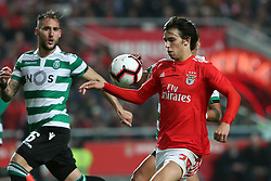 February 6, 2019 - Lisbon, Portugal - Benfica's Portuguese forward Joao Felix vies with Sporting's midfielder Nemanja Gudelj from Serbia (L)  during the Portugal Cup Semifinal first leg football match SL Benfica vs Sporting CP at Luz stadium in Lisbon, on February 6, 2019. (Credit Image: © Pedro Fiuza/ZUMA Wire)