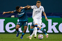 SAINT-PETERSBURG, RUSSIA - OCTOBER 20: 05 Wílmar Barrios of Zenit St Petersburg tussles with Noa Lang of Club Brugge KV during the UEFA Champions League Group F match between Zenit St Petersburg and Club Brugge KV at Gazprom Arena on October 20, 2020 in Saint-Petersburg, Russia [Photo by MB Media]