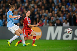 Bayern Midfielder Franck Ribery (FRA) shoots past Man City Defender Matija Nastasic (SRB) during the second half of the match - Photo mandatory by-line: Rogan Thomson/JMP - Tel: Mobile: 07966 386802 - 02/10/2013 - SPORT - FOOTBALL - Etihad Stadium, Manchester - Manchester City v Bayern Munich - UEFA Champions League Group D.
