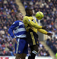 Picture: Henry Browne.<br />Date: 08/11/2003.<br />Reading v Wigan Athletic Nationwide Division One.<br /><br />Nathan Ellington of Wigan puts his back to Reading's Ivar Ingimarsson