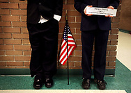 Brockman Elementary 5th graders, Jonathan Lakes and Owen Rohde pose as President Barack Obama during the school's Black History Month Event: Living Wax Museum. <br /> Columbia, S.C. 02-25-2011. C. Aluka Berry - The State Media Company