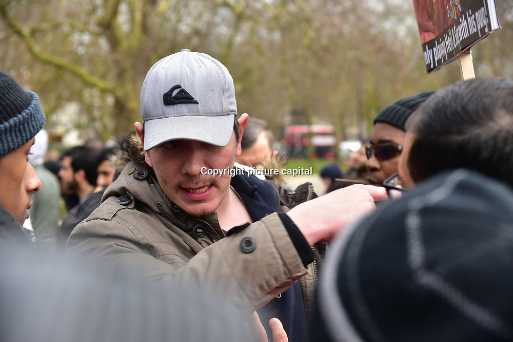 London, England, UK, 25 March 2018. The preacher at speaker Corner Hyde Park from Christianity to Islam and chemtrail.