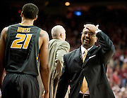 Feb 16, 2013; Fayetteville, AR, USA; Missouri Tigers forward Lawrence Bowers (21) walks away as head coach Frank Haith reacts to a play during the final seconds of a game against the Arkansas Razorbacks at Bud Walton Arena. Arkansas defeated Missouri 73-71. Mandatory Credit: Beth Hall-USA TODAY Sports