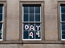Edinburgh, Scotland, UK. 6 May 2020.  Resident in Edinburgh's New Town keeping track of the number of days of Covid-19 lockdown with a counter made from post-it notes in their apartment window. Current number of days is 49 or 7 weeks.  Iain Masterton/Alamy Live News