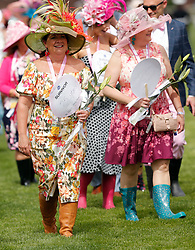 May 3, 2019 - Louisville, KY, U.S. - LOUISVILLE, KY - MAY 03: Breast Cancer survivors  show their support on Kentucky Oaks day at Churchill Downs Racetrack on May 4, 2018 in Louisville, Kentucky. (Photo by Jeffrey Brown/Icon Sportswire) (Credit Image: © Jeffrey Brown/Icon SMI via ZUMA Press)
