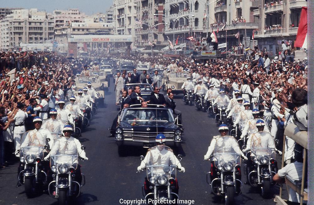 President Nixon and Sadat in Alexandria Egypt on June 10, 1973..Photograph by Dennis Brack BBBs 20