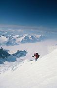 Alaska, Illiamna, 10016ft Mt Illiamna. Skier Mike Overcast descends west face of active volcano.