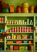 Store shelves in an old general store in Dallas, Texas from the early 1900's