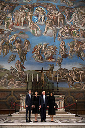 From left, senior advisor of President Donald Trump Jared Kushner, his wife Ivanka Trump, President Donald Trump and First lady Melania pose for a family photo during their visit to the Sistine Chapel and the Vatican Museums, at the Vatican.<br /><br />EDITORIAL USE ONLY. NOT FOR SALE FOR MARKETING OR ADVERTISING CAMPAIGNS.