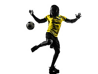 one black Brazilian soccer football player man in silhouette studio on white background