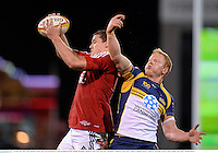 18 June 2013; Ian Evans, British & Irish Lions, wins possession in a line-out ahead of Peter Kimlin, Brumbies. British & Irish Lions Tour 2013, Brumbies v British & Irish Lions, Canberra Stadium, Bruce, Canberra, Australia. Picture credit: Stephen McCarthy / SPORTSFILE