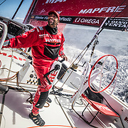 Leg 6 to Auckland, day 08 on board MAPFRE, Guillermo Altadill talking with Louis Sinclair. 14 February, 2018.