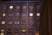 Cell windows of one of the main wings at HMP/YOI Portland, a resettlement prison with a capacity for 530 prisoners. Dorset, United Kingdom.