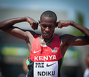 Caleb Mwangangi Ndiku of Kenya won the Prefontaine Classic Men's 5000m with a time of 13:01.71.  The Prefontaine Classic, the longest-running international invitational meet in the United States, turns 40 this year.<br /> The 2014 elite competition held in Eugene, Oregon at the University of Oregon's historic Hayward Field is in it's 5th year hosting the IAAF's Diamond League event.