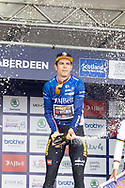 The Tour of Britain winner Wout van Aert celebrates during the presentation after Stage 8 of the AJ Bell Tour of Britain 2021 between Stonehaven to Aberdeen, , Scotland on 12 September 2021.