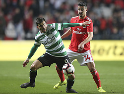 February 7, 2019 - Na - Lisbon, 06/02/2019 - SL Benfica received this evening the Sporting CP in the Stadium of Light, in game the account for the first leg of the Portuguese Cup 2018/19 semi final. Acuna and André Almeida  (Credit Image: © Atlantico Press via ZUMA Wire)