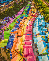Aerial view of Kampung Warna Jodipan, a village painted with vibrant colours in Malang city, East Java, Indonesia.