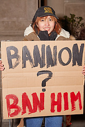 November 21, 2016 - New York City, NY, United States - Julia Withers, organizer of this protest, came out to protest the appointment of Steve Bannon to office. The protest was slated to start at 5:00PM, but not enough people showed up to keep going past 6:00PM. (Credit Image: © Jake Sigal/Pacific Press via ZUMA Wire)