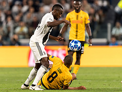 (L-R) Blaise Matuidi of Juventus FC, Djibril Sow of BSC Young Boys during the UEFA Champions League group H match between Juventus FC and Young Boys at the Allianz Arena on October 02, 2018 in Turin, Italy