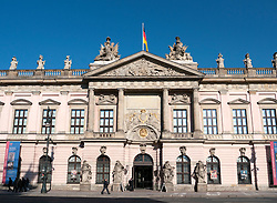 Front facade of German History Museum or Historisches museum in Mitte Berlin
