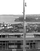 View of Bondi Beach from Dover Heights looking across the old bowling club. Part of Black and White architectural series by award winning photographer, Paul Green in pre digital times.