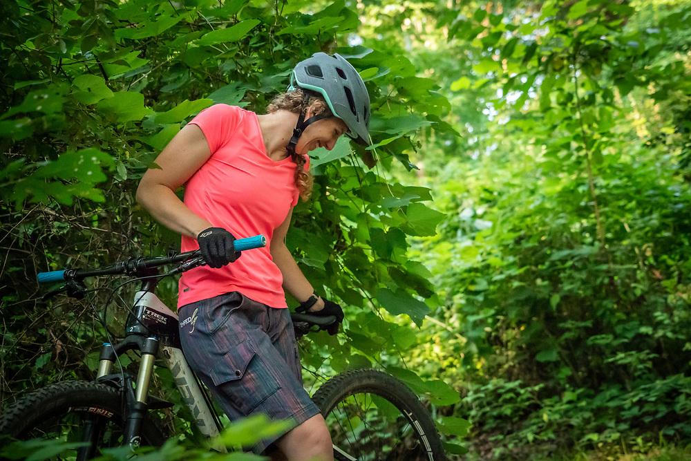 Mountain biking at Cannonsburg Ski Area near Grand Rapids, Michigan.