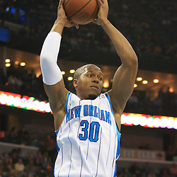06 February 2009: New Orleans Hornets forward David West (30) grabs a rebound during a NBA game between the New Orleans Hornets and the Toronto Raptors at the New Orleans Arena in New Orleans, LA.