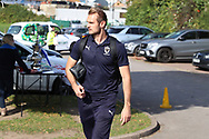AFC Wimbledon striker James Hanson (18) arriving during the EFL Sky Bet League 1 match between AFC Wimbledon and Portsmouth at the Cherry Red Records Stadium, Kingston, England on 13 October 2018.