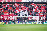 Atletico de Madrid supporters use flag of Gabi Fernandez during La Liga match between Atletico de Madrid and Athletic Club and Wanda Metropolitano in Madrid , Spain. February 18, 2018. (ALTERPHOTOS/Borja B.Hojas)
